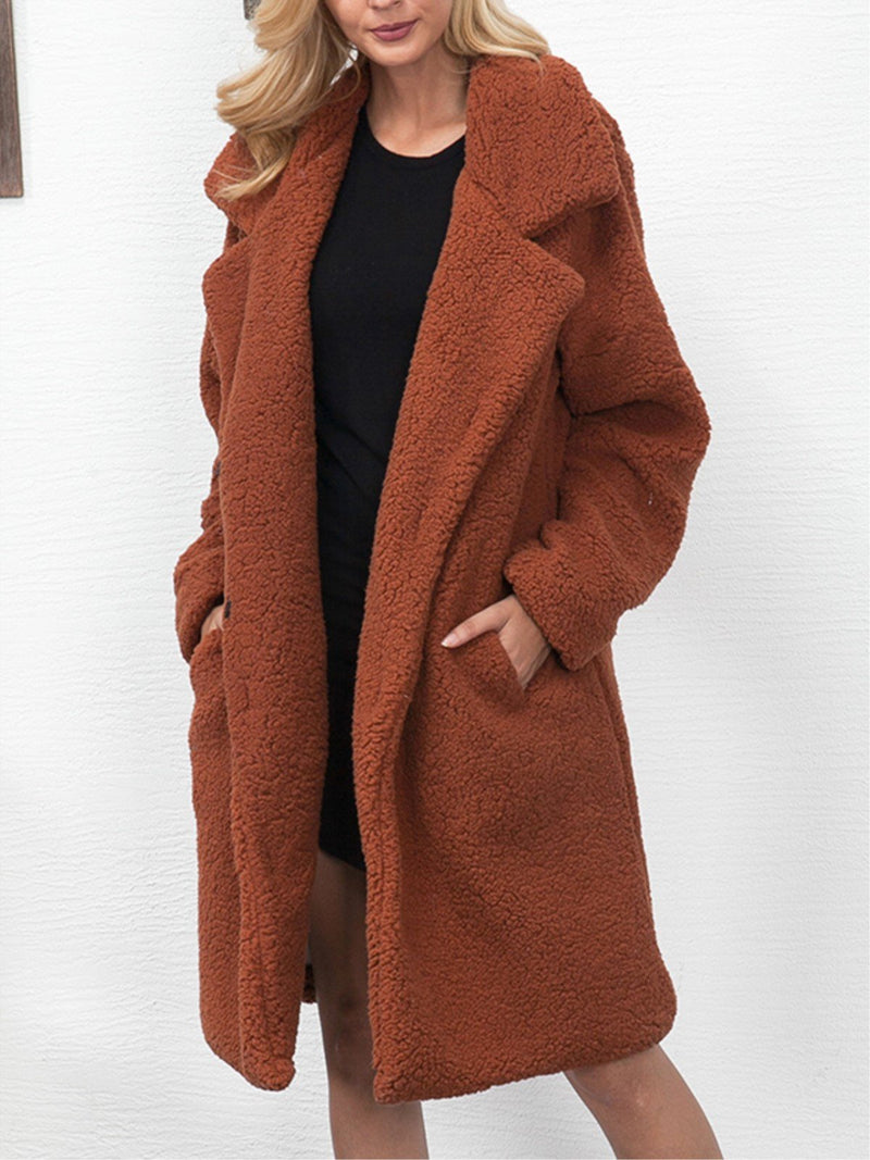 Women Plus Size Long Sleeve Faux Suede Lapel Coat