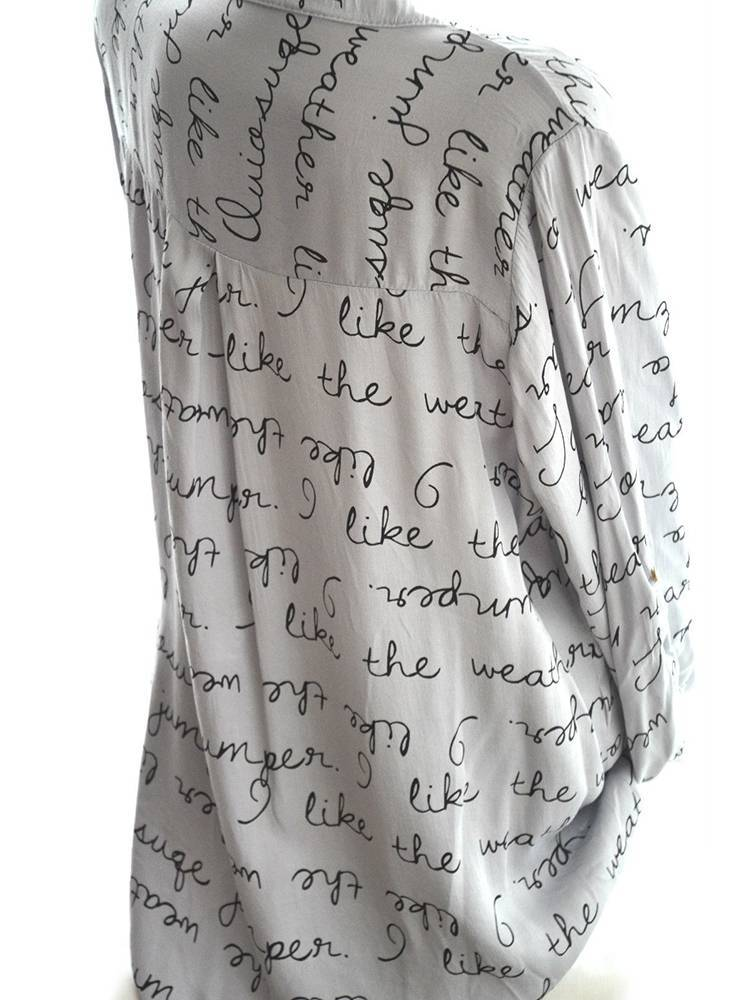 Women Printed Letters V-neck Button Long Sleeve Shirts