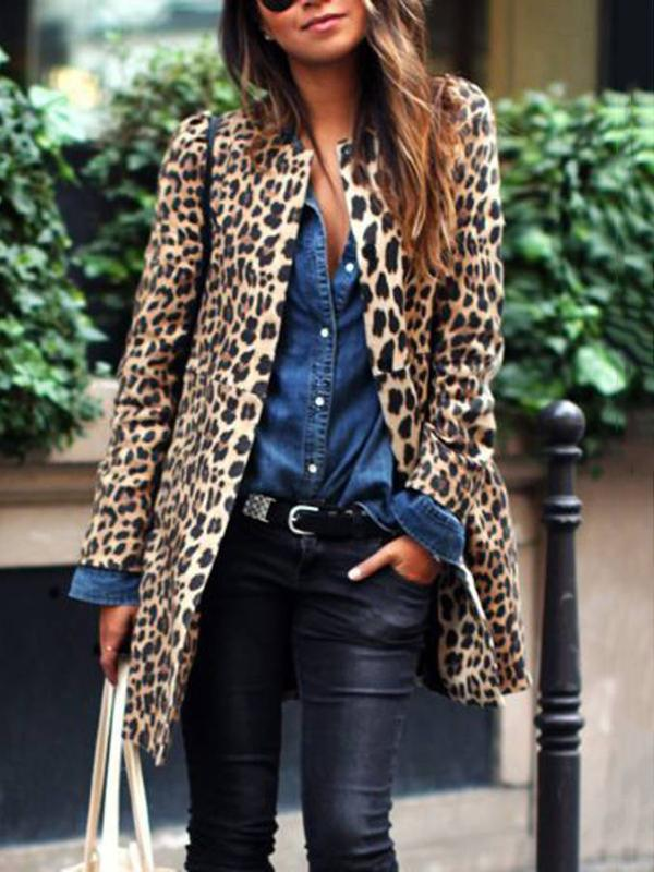 Women Leopard Long Sleeve Blazers
