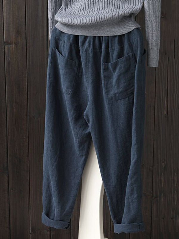 Women Solid Simple Linen Shift Shirred Plus Size Pants