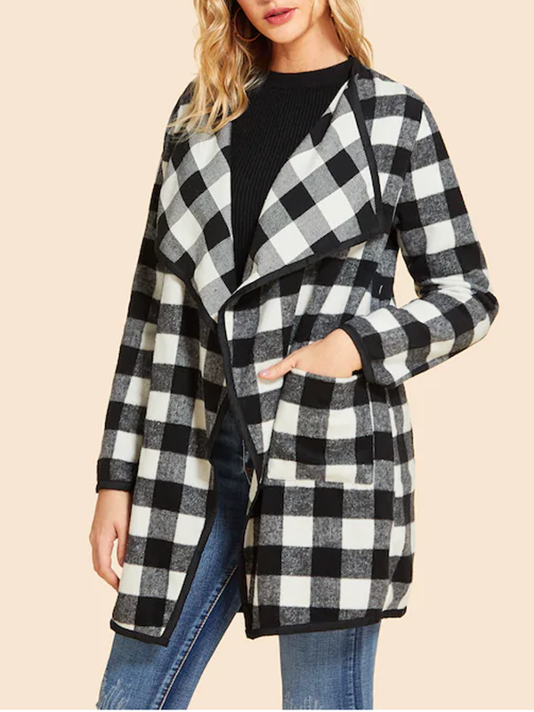 Women Waterfall Collar Gingham Coat