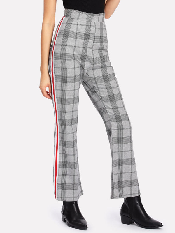 Women Gray Cotton Casual Checkered/Plaid Pants