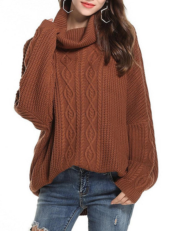 Women Twist Weave Solid Color Turtleneck Loose Casual Sweaters