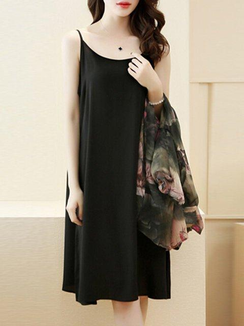 Green Two Piece Women Daily 3/4 Sleeve Floral Elegant Dress