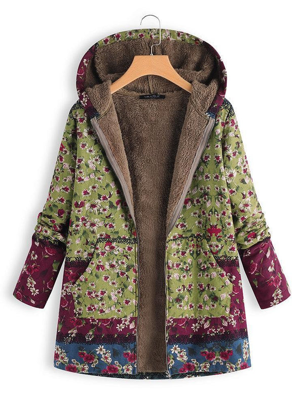 Women Patchwork Hoodie Casual Quilted Coat