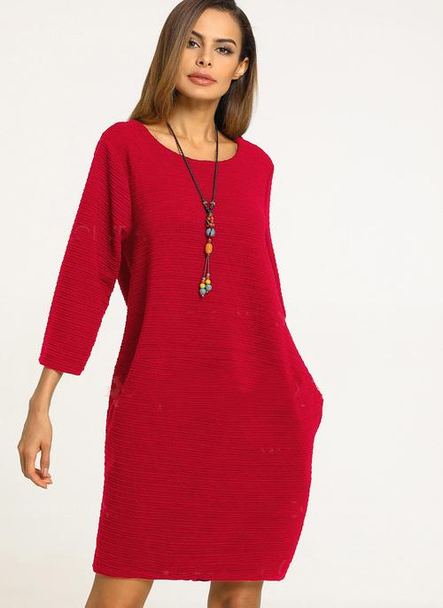 Women Solid 3/4 Sleeves Knee-Length Shift Dress