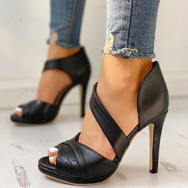 Women's Peep Toe Cut Out Heel Shoes Pumps