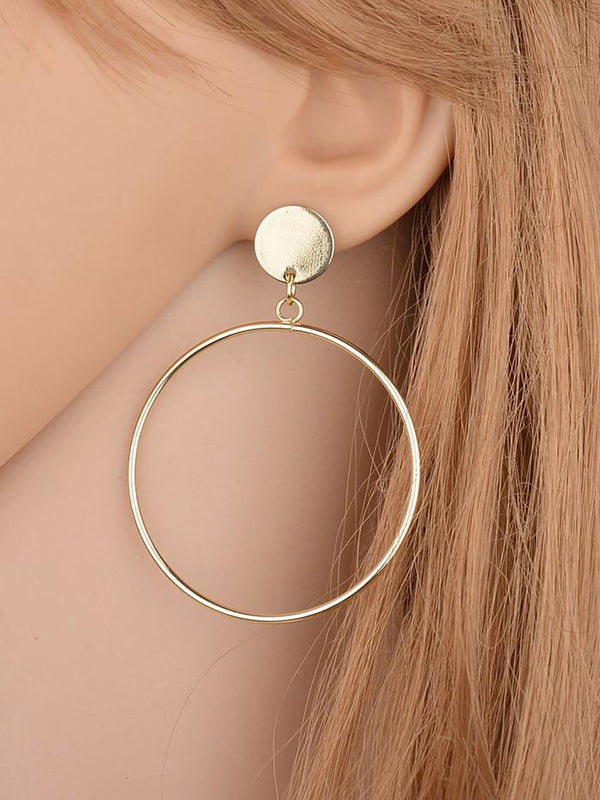 Womens Alloy Round Exaggerated Earrings