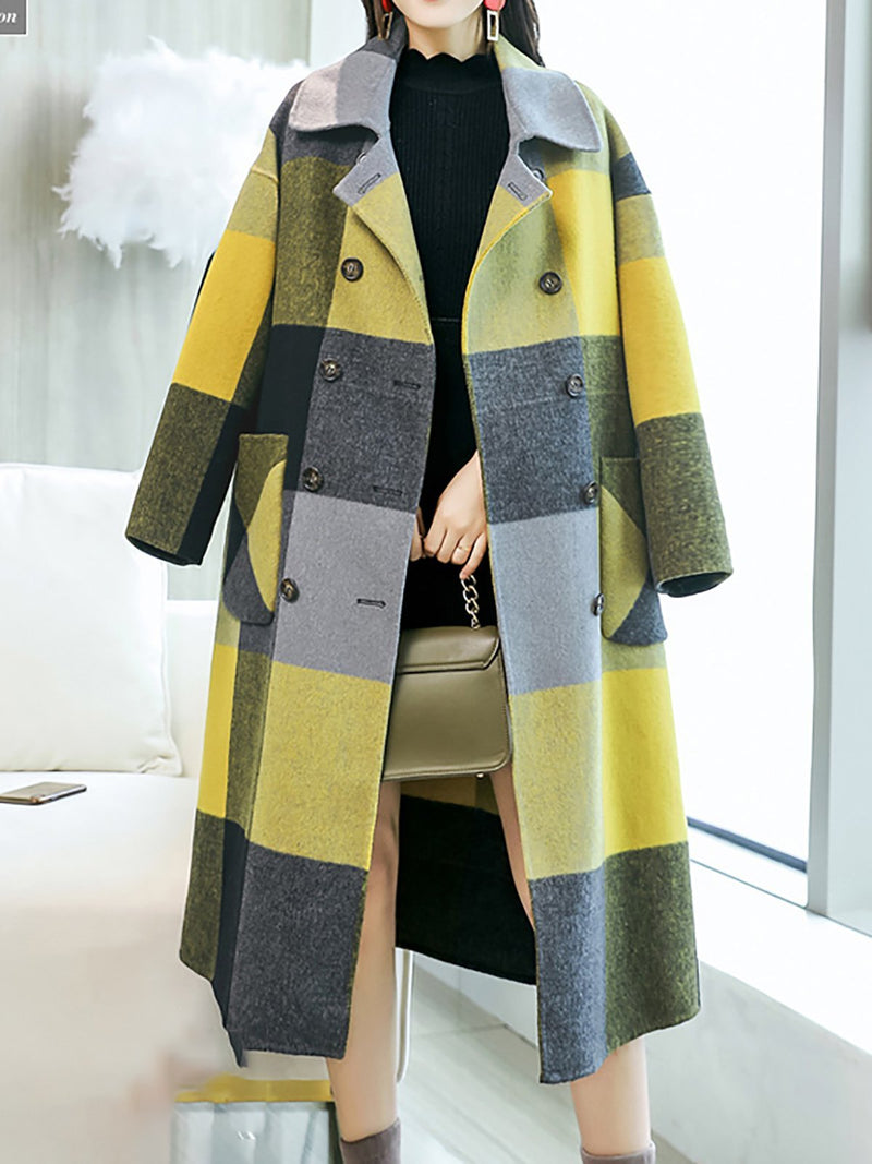 Women Yellow Color-Block Work Pockets Shift Lapel Coats