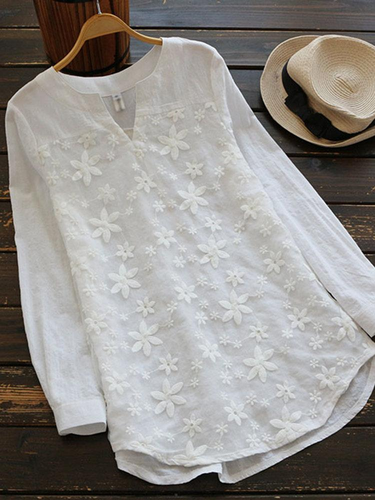 Women Embroidered V-neck Cotton Blouse