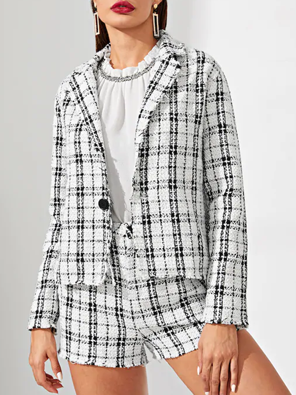 Women Notch Collar Button Up Tweed Coat and Shorts Set