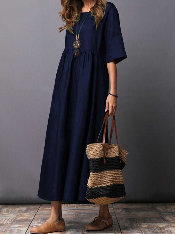 Round Neck Plain Linen Maxi Dress