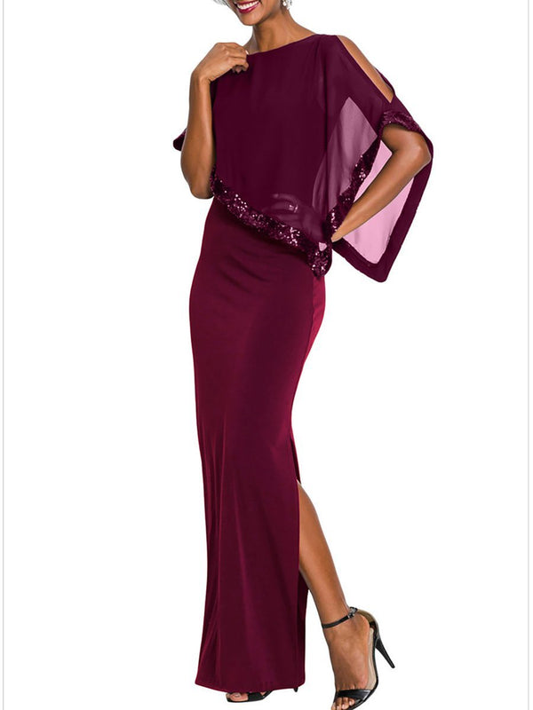 Women Boat Neck Sheath Party Slit Evening Maxi Dress