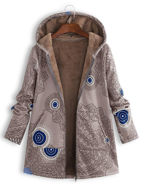 Women Ethnic Print Fleece Zipper Hooded Autumn Winter Coat