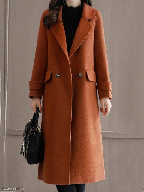 Women Lapel Flap Pocket Plain Woolen Pea Coat