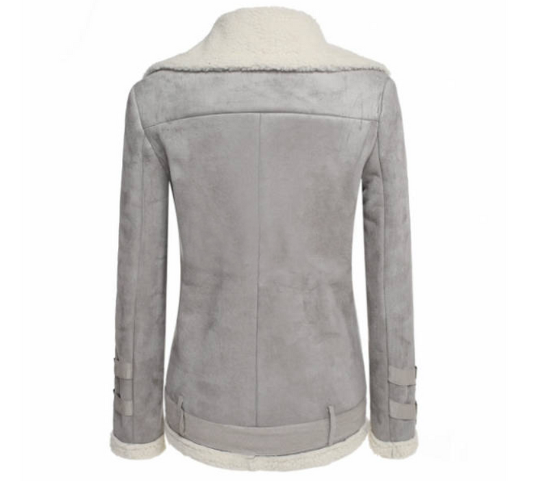 Winter Warm Casual Lapel Collar Zipper Plain Women's Coat