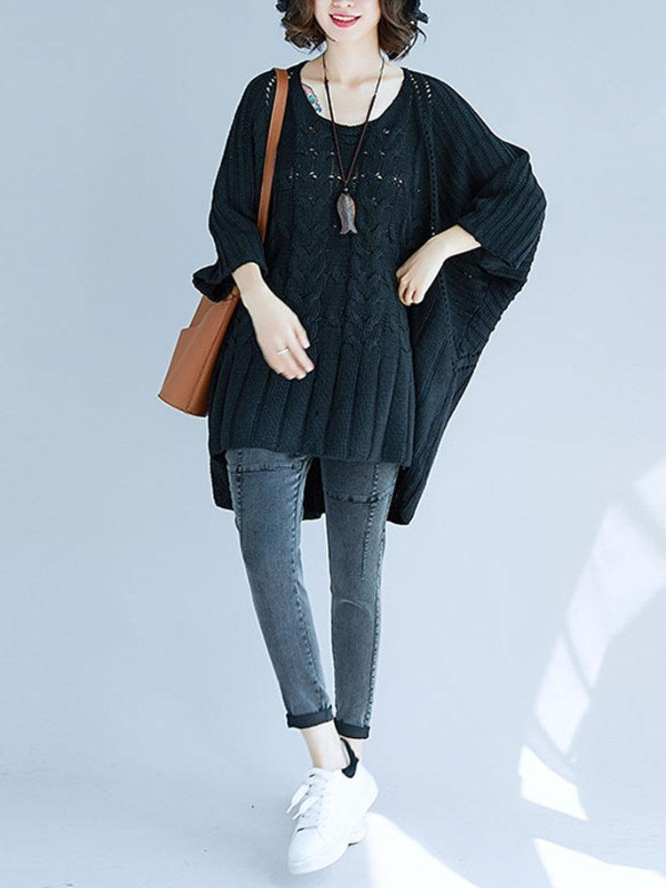 Solid Color Bat Sleeve Hollow Loose Casual Sweaters