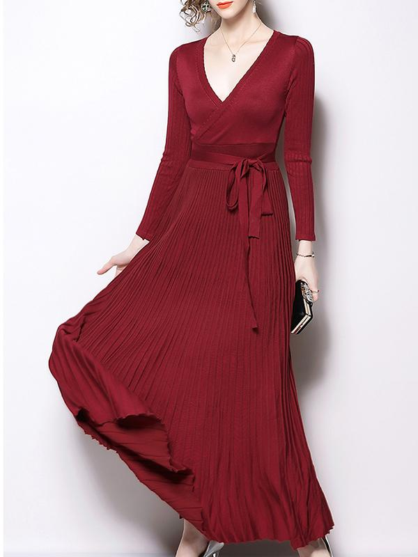 Women Retro V-neck Long Maxi Dress One-size
