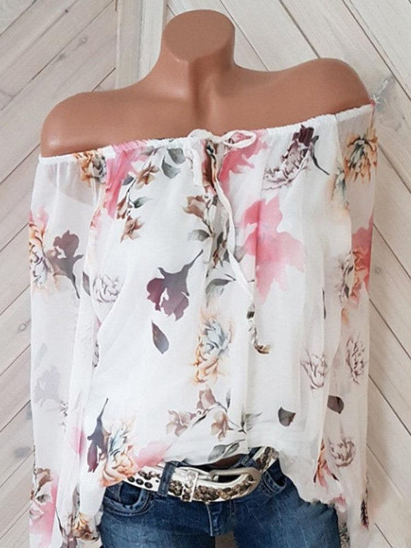 Women Floral Printed Off Shoulder 3/4 Sleeve Chiffon Shirts
