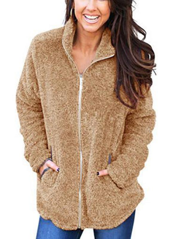 Women Fashion Zipper Warm Coat
