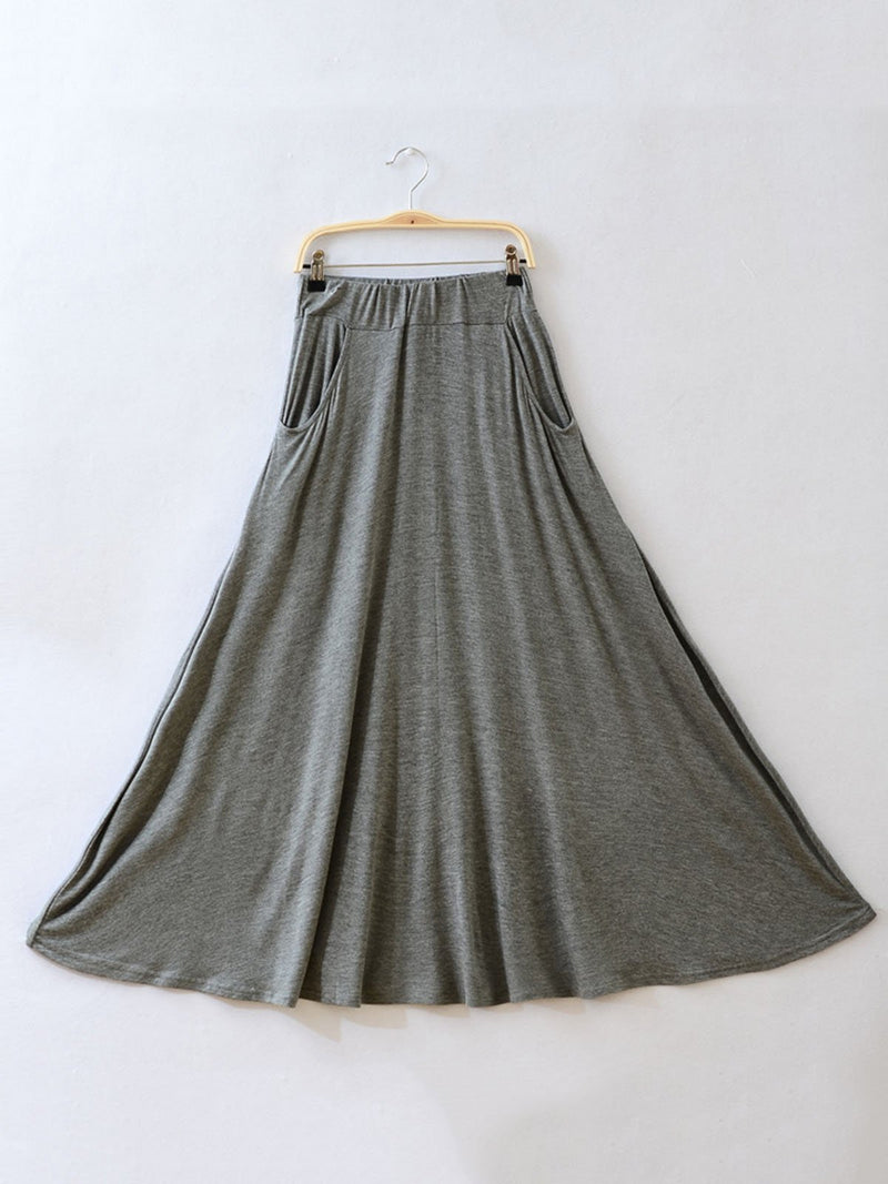 Women Casual Solid Pockets Swing Skirt