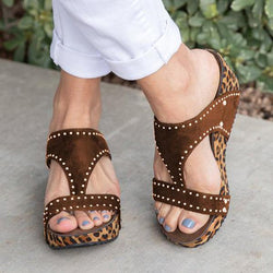 Summer Wedge Leopard Slide Sandals