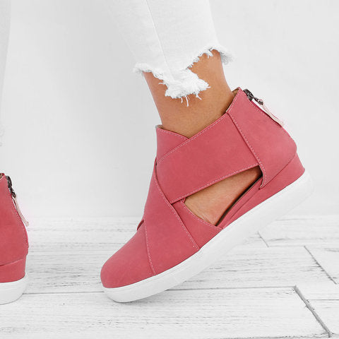 Women Criss-cross Cut-out Wedge Sneakers Plus Size Wedge Heel Shoes with Zipper