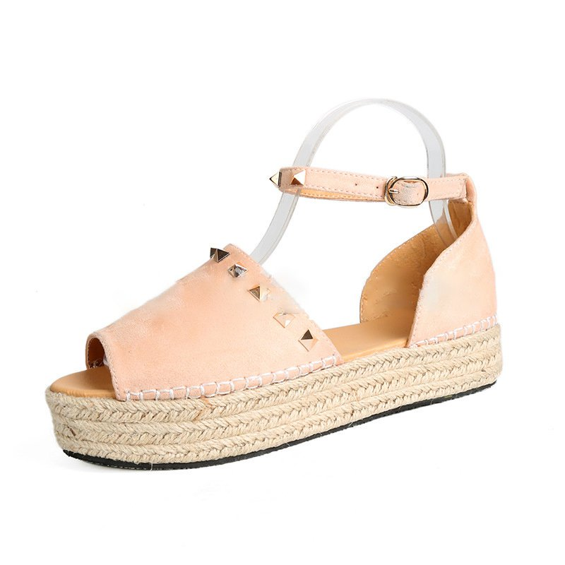 Women Creeper Sandals Casual Espadrilles Adjustable Buckle Shoes
