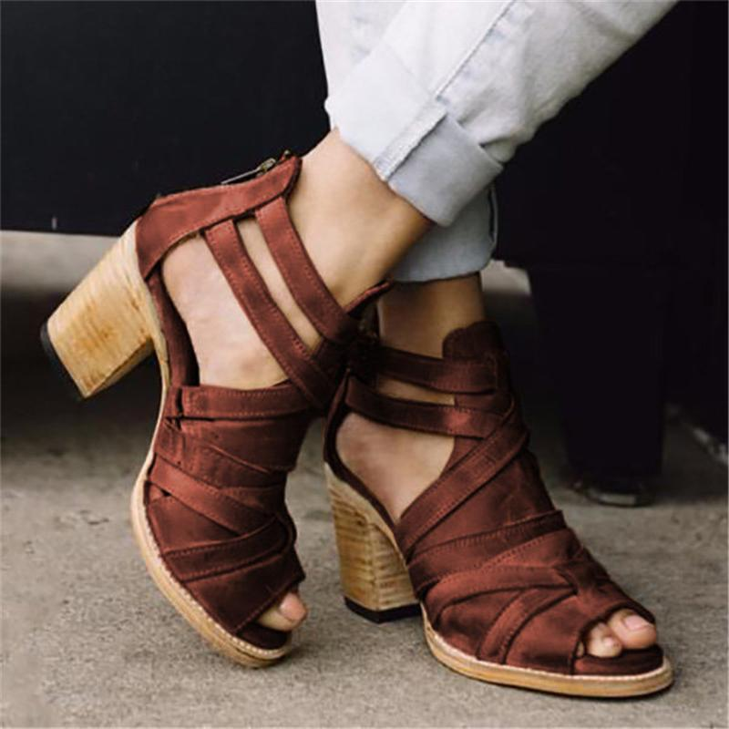 Vintage Criss-Cross Block Heels Back Zipper Peep Toe Sandals