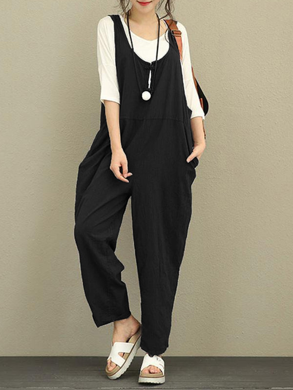 Women Cutout Pockets Solid Casual Pockets Jumpsuit