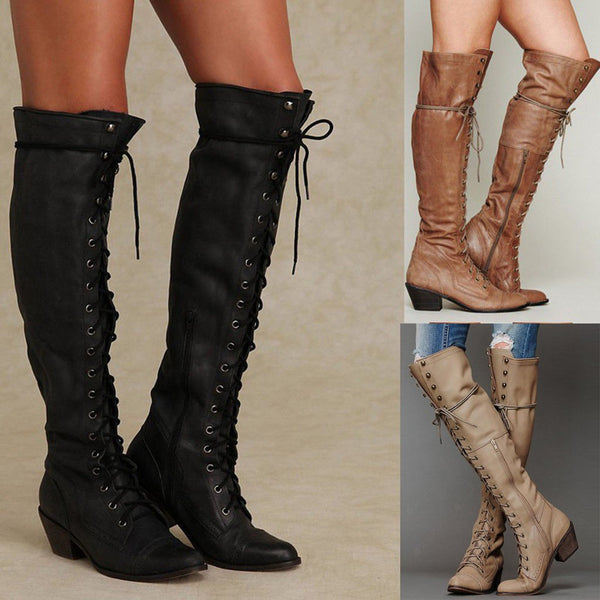 Women Fashion Vintage Lace Up Boots