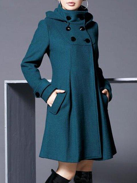 Women Wool Blend Hoodie Long Sleeve Plain Coat