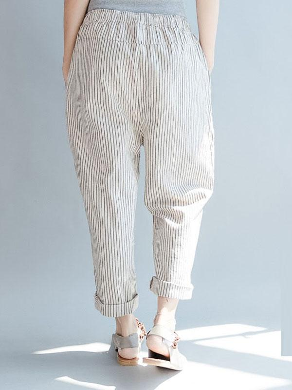 Women Pockets Striped Casual Pants