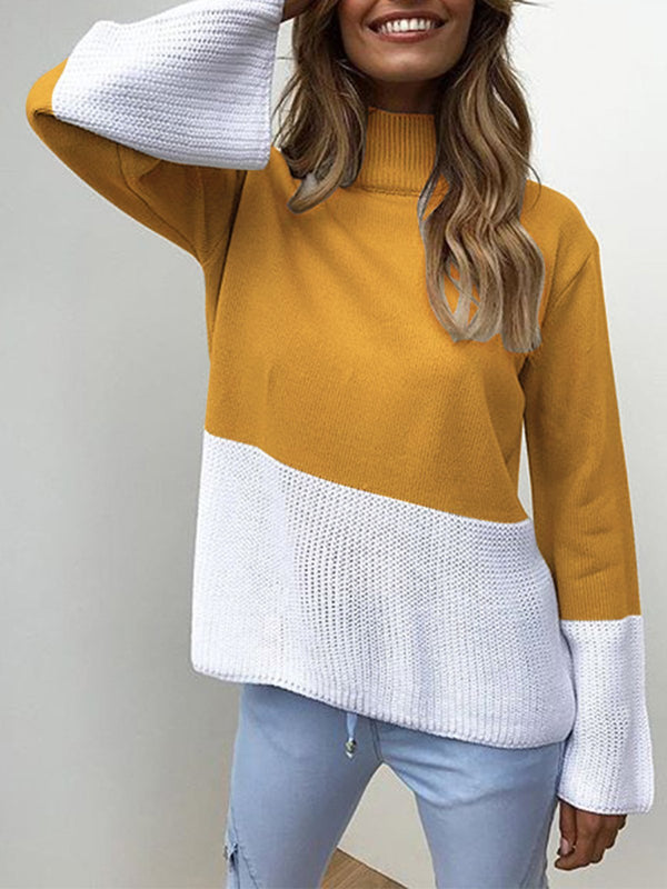 Women Solid Elegant Color-block Knitted Sweater