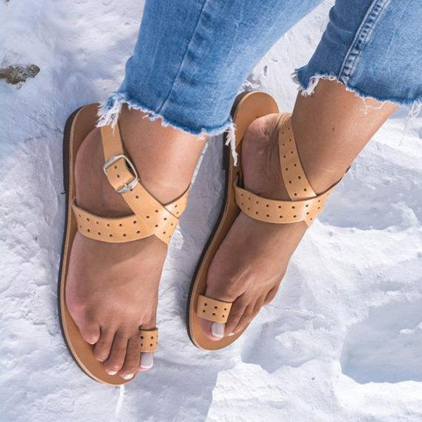 Women Flip PU Buckle Sandals
