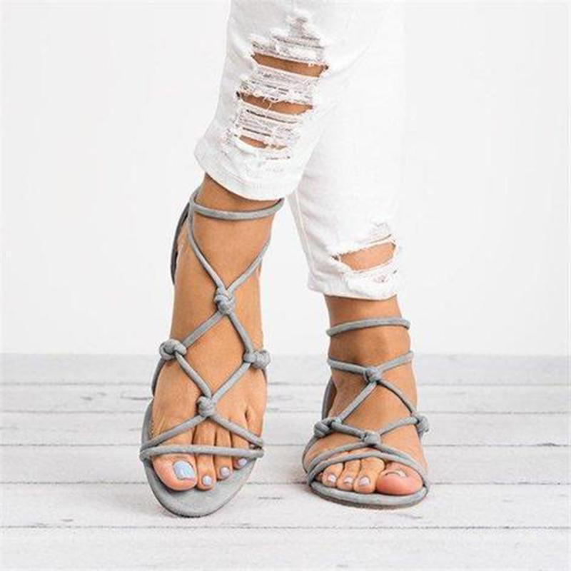 Open Toe Knotted Sandals Summer Back Zipper Sandals