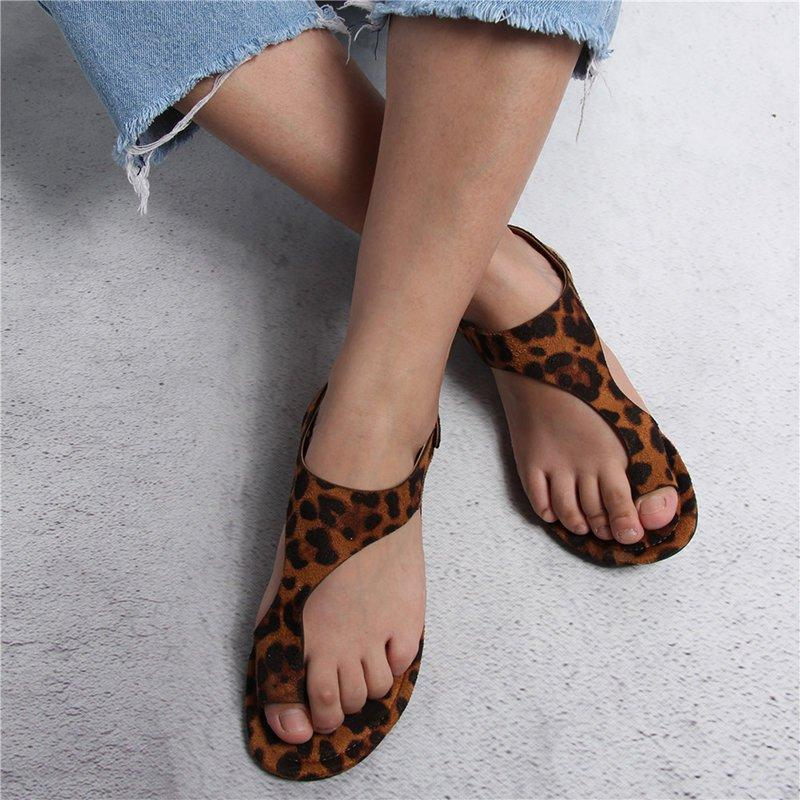 Women Casual Leopard Buckle Sandals Shoes