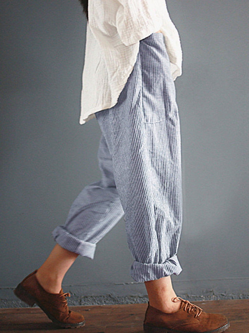 Women Casual Striped Cotton Linen Pants