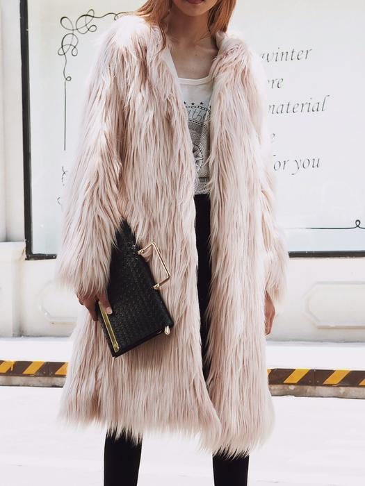 Women Hoodie Long Sleeve Fluffy Fur and Shearling Coat