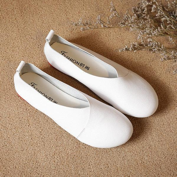 Women Large Size Pure Color Slip On Vintage Casual Flats