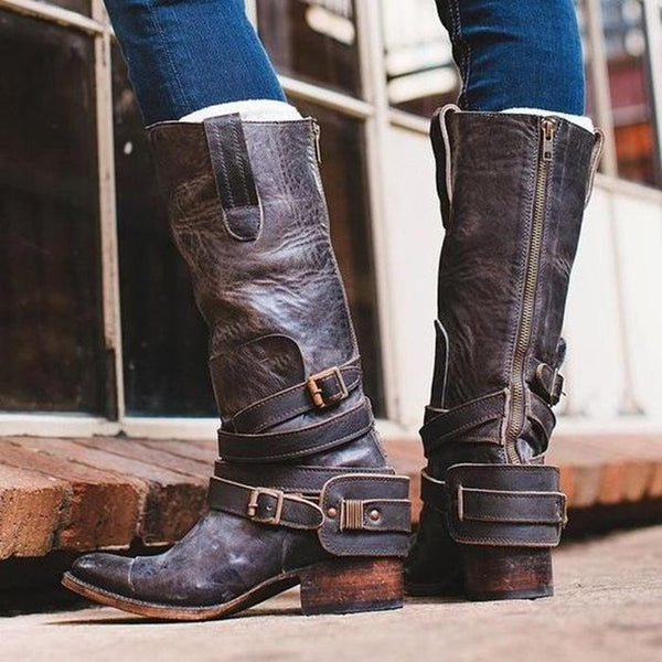 Women Vintage Low Heels Zipper Boots Casual Ankle Strap Booties