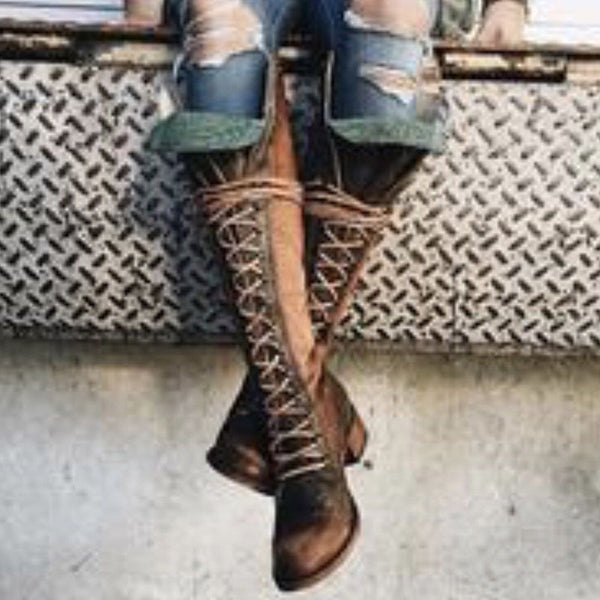Women Winter Vintage Boots Lace-up Knee-high Shoes