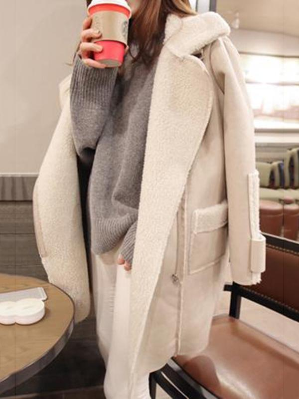 Women Lapel Zipper Plain Coat