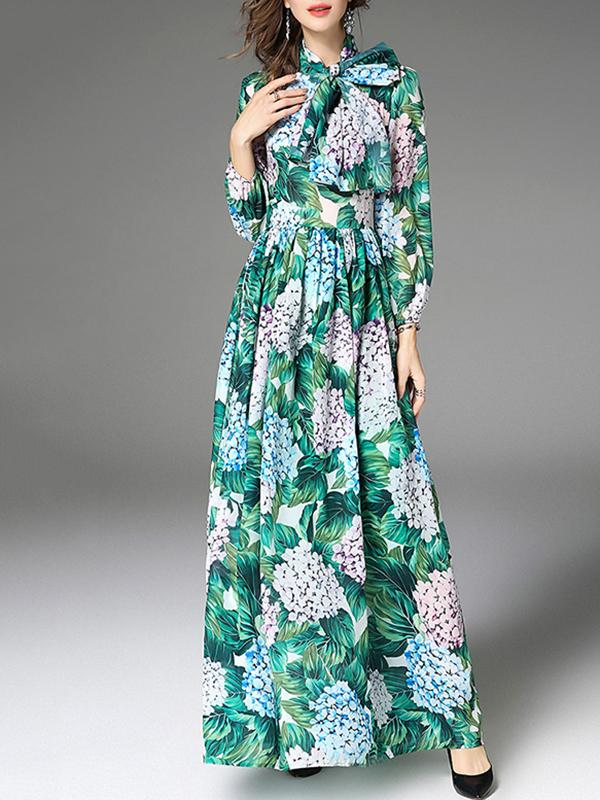 Women Long Sleeve Flowers Print Maxi Dress With Waist Belt
