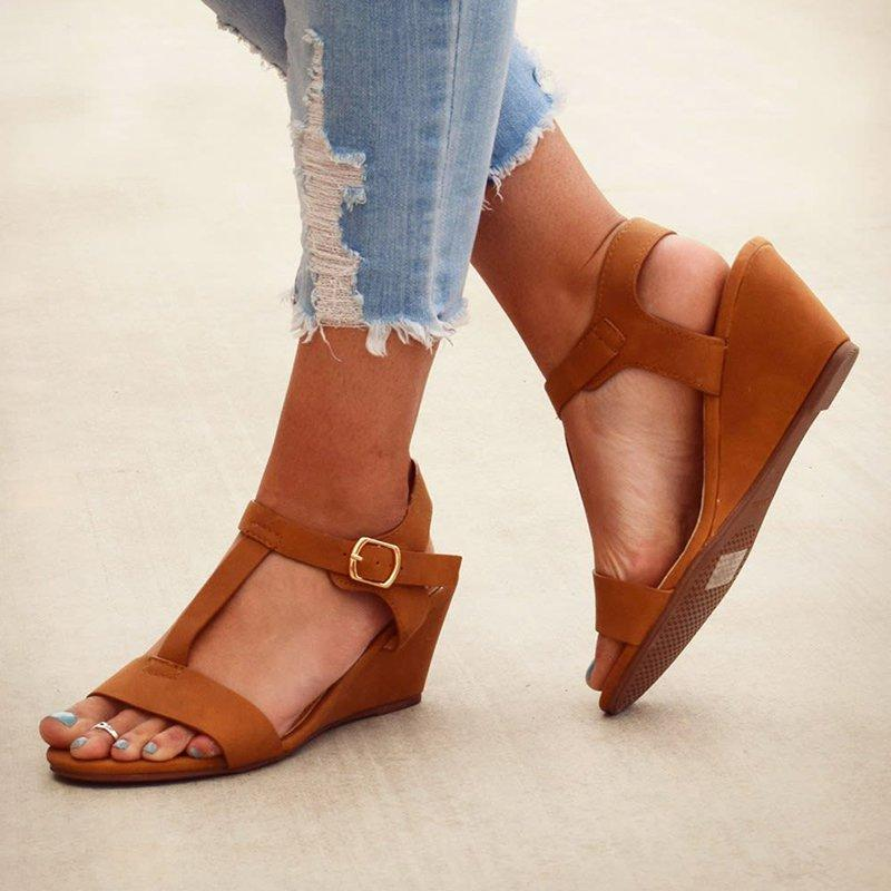 Women Wedge Sandals Casual T-Strap Cushioned Shoes