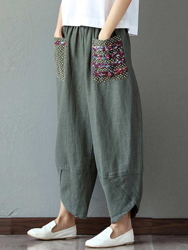 Women Paneled Pockets Casual Cocoon Pants
