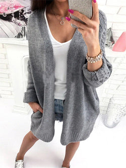Knitwear Pockets Solid Color Slim Long Cardigans