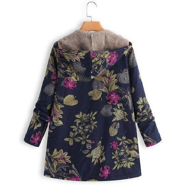 Vintage Leaves Floral Print Long Sleeve Coat
