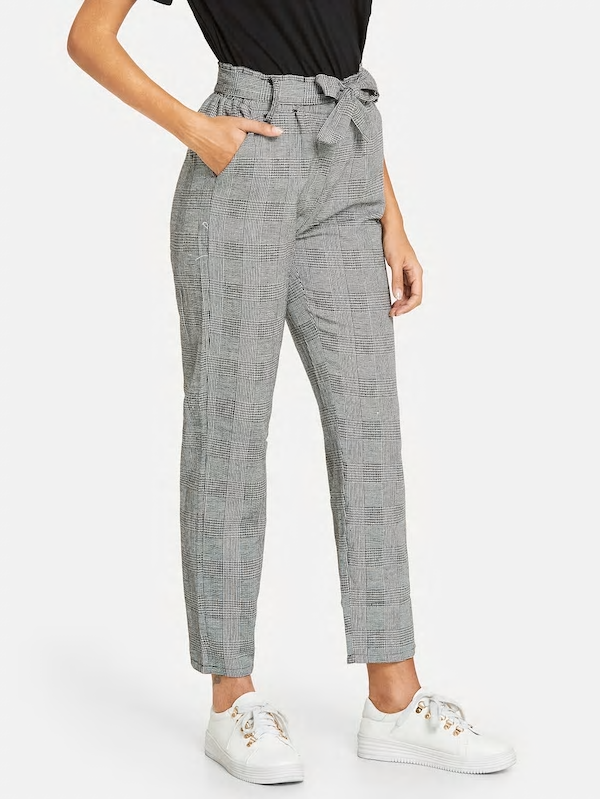 Women Waist Elastic Belted Plaid Pants