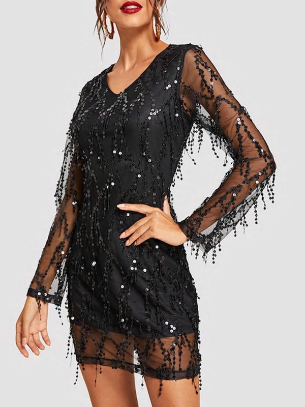 Women Sequin Mesh Overlay Dress